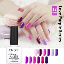 10ML 12 Colors Romantic Purple Series UV Gel Nail Polish Varnish Gel Polish Nail Art Manicure Free Shipping Nail Polish