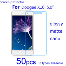 For Doogee X10 SmartPhone LCD Screen Protector Guard, 50pcs HD Clear/matte/Nano Explosion Proof Protective Films Cover Shield