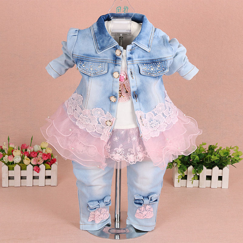 Baby Girl Clothes Sets 2017 New Fashion Lace Floral Denim Jacket+T-shirt+Jeans Kids 3pcs Suit Infant Baby Clothing<br>