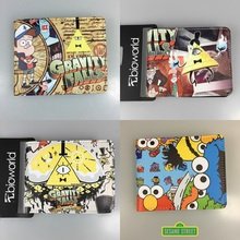 Gravity Falls Adventure Time Sesame Street Super Mario Short Wallets Anime Card Holder Purse PU Leather for Boys and Girls