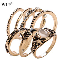 WLP Hot 7pcs/set Antique Gold Zinc Alloy with Opals&Crystal Oil Drip Decoration Vintage Knuckle Midi Ring Set for Women A2224(China)