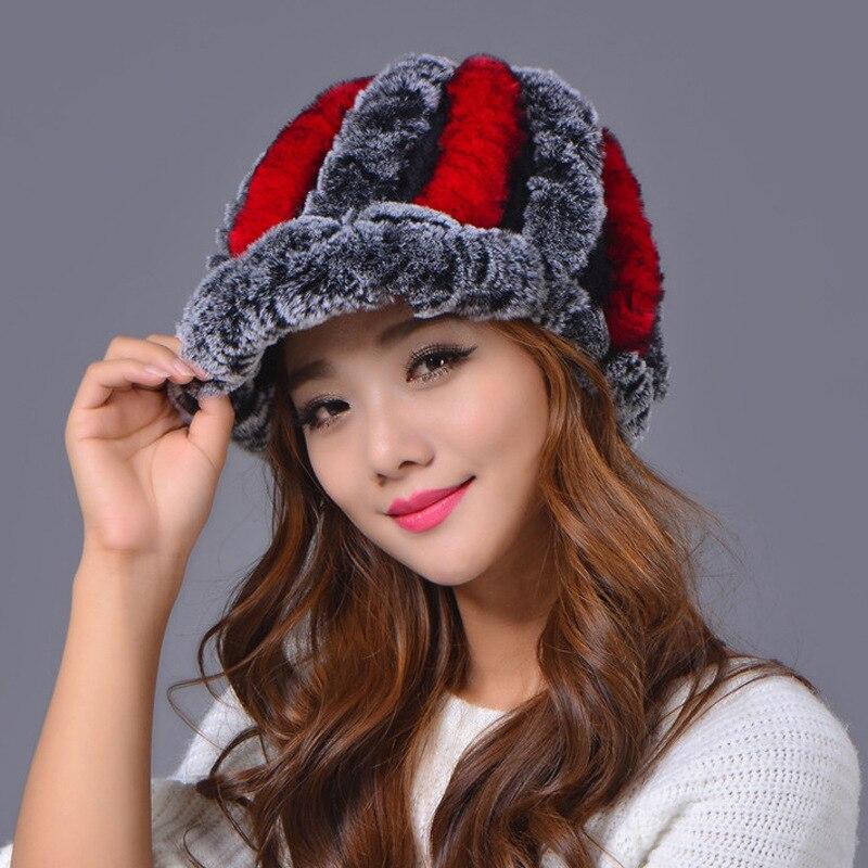 2017 knitting rabbit fur bat winter cap bats for women new fashion genuine rabbit fur bat stripe fur caps for men and womenОдежда и ак�е��уары<br><br><br>Aliexpress