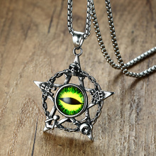 Punk Green Evil Cat Eye Five-pointed Star Pendant Necklace for Men Stainless Steel Skull Chain Halloween Male Bike Jewelry 24""