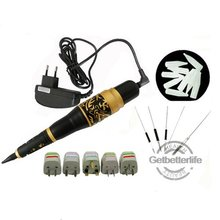 Free Shipping Permanent Makeup Eyebrow Rotary Tattoo Machine Microblading Pen Kit with 50 Needles 50 Tips EU or US Plugs