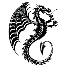 17.5*22CM Dragon Beast Cool Car Body Stickers Magical Animal Car Styling Decal Accessories Black/Silver C9-0867