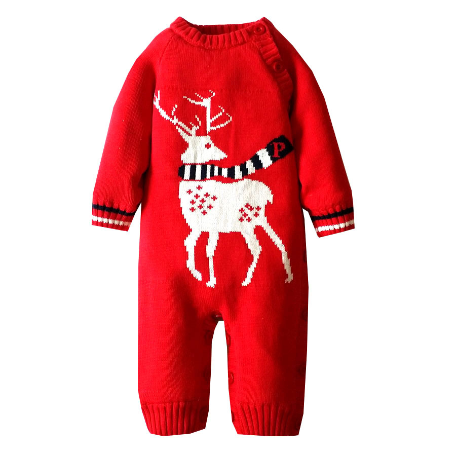new born baby girl boys 2017 new baby rompers winter thicken warm newborn baby clothes cartoon deer kintted infant jumpersuit<br>