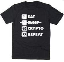 Buy Eat Sleep Crypto Repeat T-Shirt Funny BTC ETH LTC Crypto Bitcoin 6 colours for $14.24 in AliExpress store