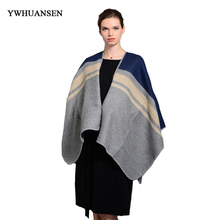 YWHUANSEN Large Size Soft Scarf Luxury Brand Foulard Thick Shawl Fashion Striped Winter Scarf Women Wrap Pashmina women stole(China)