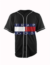 Real American Size trap god 3D Sublimation Print Custom made Button up baseball jersey plus size