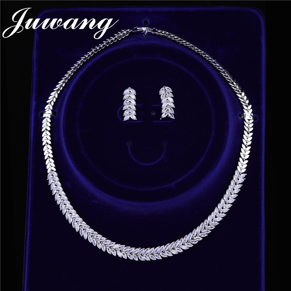 JUWANG Jewelry-Sets Necklace Simplicity-Earrings Gift Brides Cubic-Zirconia Luxury Crystal title=