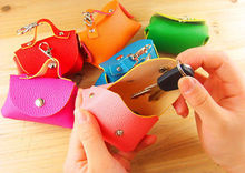 Colorful Mini PU leather Coin Change Key Storage Bags Little Colors Home Storage Coin Storage Bags