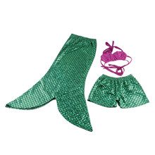 Lovely Baby Cosplay Costume Mermaid Sets Kids Girls Fishtail Princess Ariel Skirt Sets Fancy Green Comfortable Children Suits(China)
