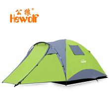 Hewolf double layer waterproof camping tent 4 persons large travel family bivvy tourist tente 2 room barraca tenda canopy awning(China)