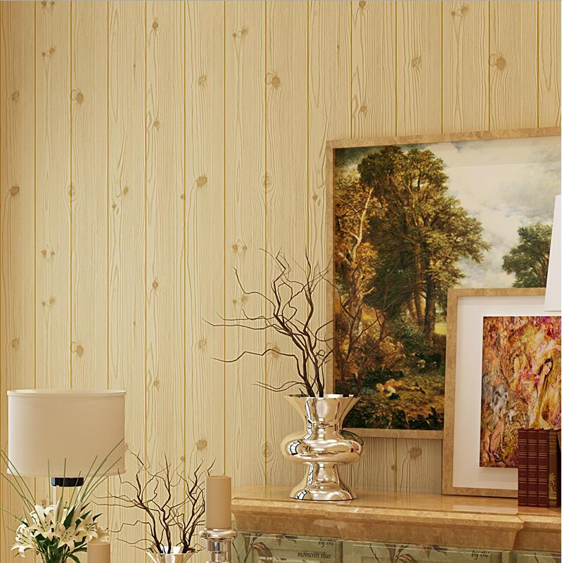 Non-woven wallpaper embossed 3d stripe wallpaper wood background wall<br>