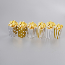 12pcs Wedding Birthday Movie Party Tableware Gold/Silver stiff paper Party Popcorn Boxes Pop Corn Candy/Sanck Favor Bags(China)