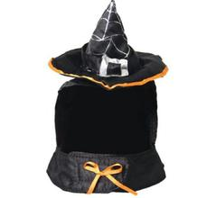 30 sets/lot Wholesale Cat Halloween Cosplay Fancy Dress Magic Black Wizard/Witch's Hat +Scraf Set Halloween Pet Costumes(China)