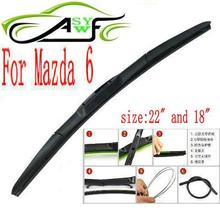 "Free shipping car wiper blade for Mazda 6 Size 22"" 18"" Soft Rubber WindShield Wiper Blade 2pcs/PAIR deflector window"