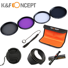 K&F CONCEPT UV CPL FLD ND4 Neutral Density Camera Lens Filter Kit+Bag+Lens Hood Cap+Cleaning Pen For Canon Nikon Sony Digital(China)