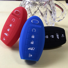 Fob Remote Key Cover Silicone Protective Case for INFINITI JX35 2014 2015 QX60 QX80 Key Shell Holder Replacement 5 Button(China)