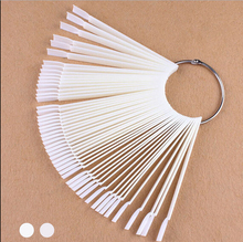 50PCS False Nail Tips Fan shaped Fake Nail Art Tips Polish UV Gel Sticker Decoration Display Stick Gel Salon Tool Clear Natural(China)