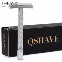 Qshave Double Edge Safety Razor Classic Safety Razor silver color Long Handle Butterfly Open, 1 Handle & 5 blades(China)