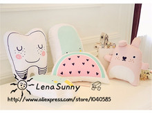 Baby Catoon Educational Cushion Plush Toys,Watermelon Ice cream Totoro Teeth Pattern Kids Toys