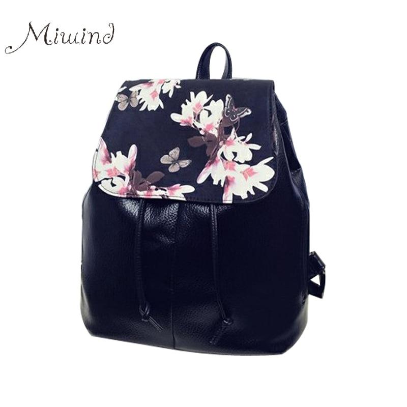2017 vintage designer printing flower drawstring black leather backpack teenage girl school notebook rucksacks travel mochila<br><br>Aliexpress
