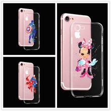 Watercolor Minnie captain America  Phone Case Cover for Iphone 5 5 s 5 c 6 6plus 7 7plus Soft silicone superman cover