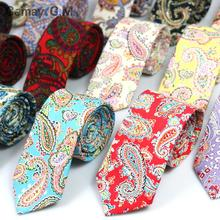 New 100% Cotton Ties For Men European fashion casual Cashew Flower Printed Mans Necktie 6cm Skinny Narrow Neckties Party Ties(China)