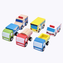 Wooden Design Pull Back Car Colorful Multi-type Bus Ambulance Truck Super Mini Model Car Random Model