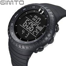 GIMTO Black Digital Sport Watch Men Clock Fashion Military Watches Diving LED Silicone Wristwatch Waterproof Relogio Masculino