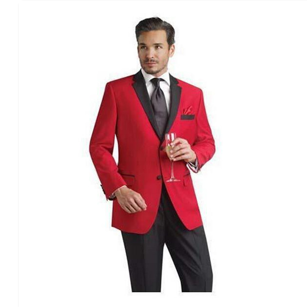 2017 Men Suit Set Slim Fit 2 Pieces Red Blazers (Jacket+Pants) Men Suits For Wedding Party Prom Groom Best Man Tuxedos Regular