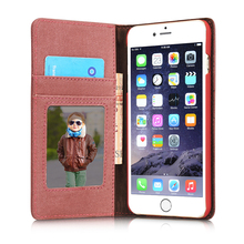 Vintage Jeans Canvas Cover For apple iphone 6 Case Wallet Magnetic For iphone 6 s  filp 6Plus Luxury Cover Card Holster