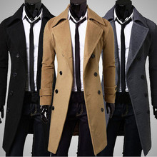 Men Trench Coat 2017Fashion Design Men Long Coat Autumn Winter Double-breasted Windproof Slim Trench Coat Jacket Parka Plus Size