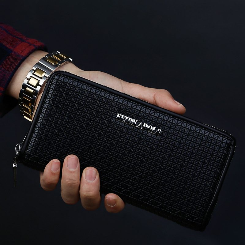 NEW HIGH QUALITY Embossing PU Leather Men Wallets Plaid Long Coin Purse card holder wallet men wallet zipper coin pocket brand<br>