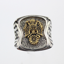 Stainless Steel  US Army Ring Men's Silver Military Army Signant Ring Gold Plating