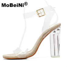 MoBeiNi Newest Women Pumps Celebrity Wearing Simple Style PVC Clear Transparent Strappy Buckle Sandals High Heels Shoes Woman