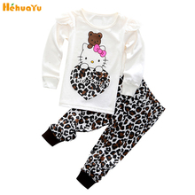Fashion Cartoon Pink Cute White Long Sleeves Hello Kitty Pants Home Clothing Cozy Cotton Pajamas Children Kids Girl Clothes Set