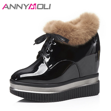 ANNYMOLI Women Boots Winter Natural Fur Platform Wedges Ankle Boots Hidden High Heel Female Short Boots Autumn Shoes 34-39 Black(China)