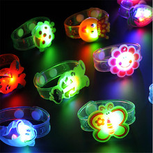 20pcs/lot Soft jelly flower cartoon led bracelet toy flashing light wrist strap band for festival party supplies glow kids toys
