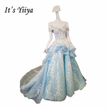 It's YiiYa Popular Blue Sleeveless Boat Neck Wedding Dress Flower Appliques Beading Tiered Vestidos De Novia Weding Frock XN001(China)
