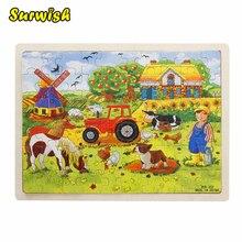 Surwish 60-piece/комплект Миллера фермы деревянные <strong>своими</strong> головоломки детские развивающие игрушки(China)