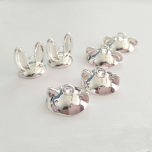 5pcs /lot Rabbit ears cat ears beads caps pendant buckle can be used with 14-15mm Pendant three-dimensional ball DIY jewelry(China)