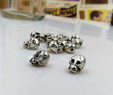 Buy 50pcs/lot Metal Charms Jewelry DIY Making Antique silver Plated skull Head Beads Spacer Bead bracelet for $8.80 in AliExpress store