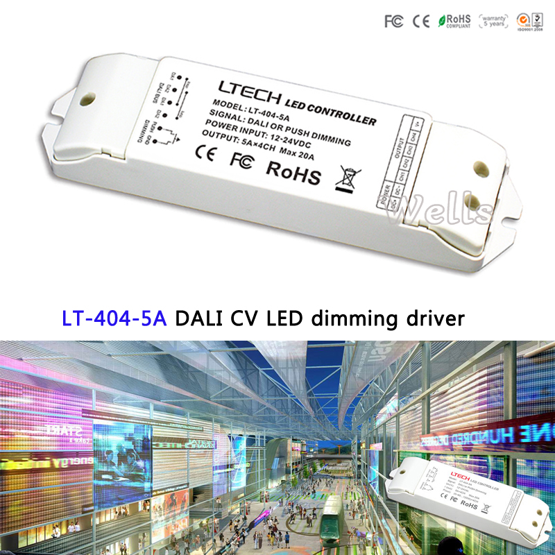 LTECH DALI Led Dimming Driver,LT-404-5A;5A*4CH Max 20A output;DALI/Push button signal input DC5-24Vfor single color led strip<br>