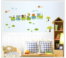 % cute cartoon animals train cloud tree Nutty Fluffies children room decoration wall sticker environmental protection stickers
