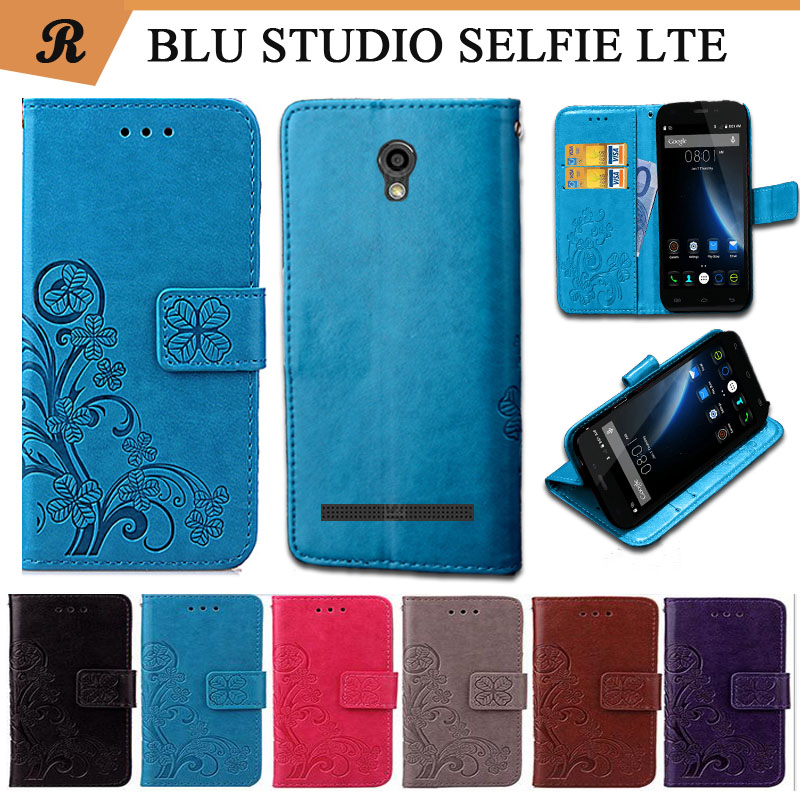 Newest For BLU BLU STUDIO SELFIE LTE Factory Price Luxury Cool Printed Flower 100% Special PU Leather Flip case with Strap(China)