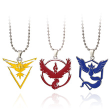 2017 New Pokemon Go Dog Tag Necklace Game Anime Metal Team Valor Mystic Instinct Logo Bead Chain for Women and Men fans