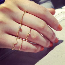 Tomtosh 5 pieces. \ Set the brightness of cute Chic style crystal rhinestone midi fist finger joint ring women ring