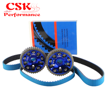 Adjustable Billet Cam Gears + Timing Belt For 93-01 Honda Prelude H22 DOHC VTEC RED / BLUE(China)
